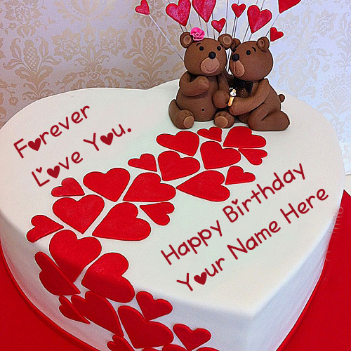 Write Name Birthday Teddy Cake Love U Forever Pictures