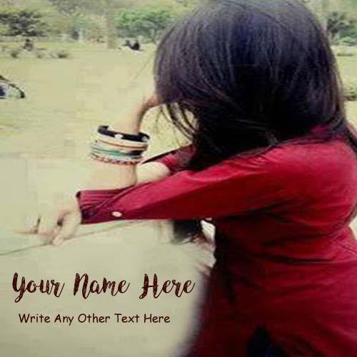 Write Name Sad Look Girl Quotes Text Profile Set Image