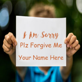 Write Name Sorry Plz Forgive Me Greeting Cards Image