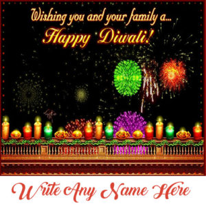 Amazing Diwali Patakha Greeting Card Name Wishes Image