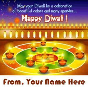 Beautiful Rangoli Diwali Name Wish Card Pictures