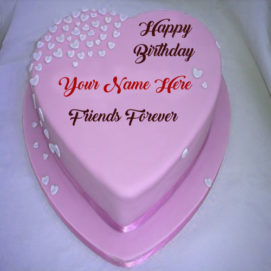 Birthday Heart Cake Friend Name Wishes Pictures