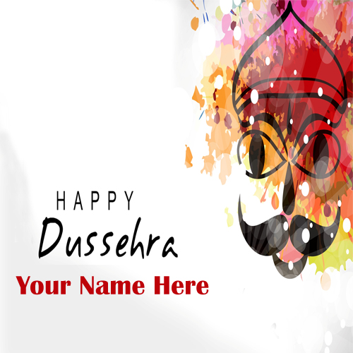 Custom name write dussehra festival greeting card edit m4hsunfo