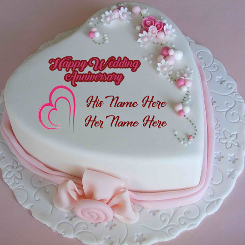 Happy Wedding Anniversary Wishes Names Cake Image