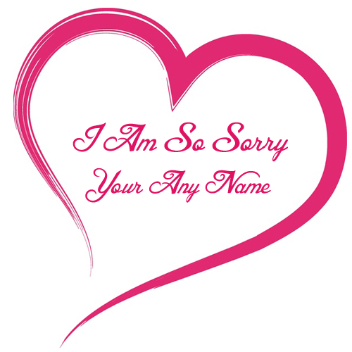 Sorry Name Write Beautiful Love Card Edit Online Free