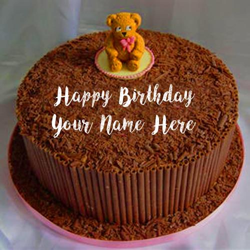 Unique Teddy Chocolate Birthday Cake Name Wishes Pics