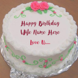 Wife Name Wishes Birthday Cake Rose Design Pictures