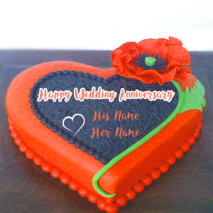 Write Names Wedding Anniversary Wishes Cake Photo