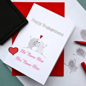 Cute Engagement Wish Card Couple Name Write Pictures