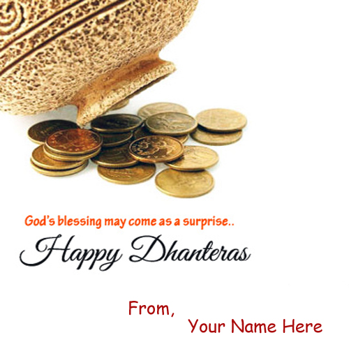 Dhanteras blessing name wish card pictures sent free m4hsunfo