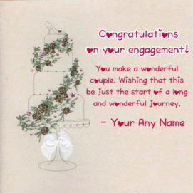Engagement Wishes Congratulations Greeting Name Card Image