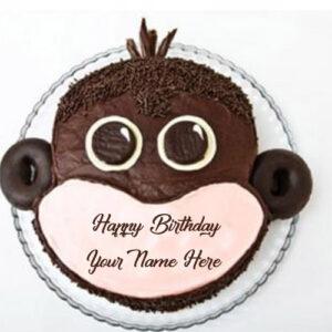 Funny Monkey Birthday Cake Name Wishes Image Sent