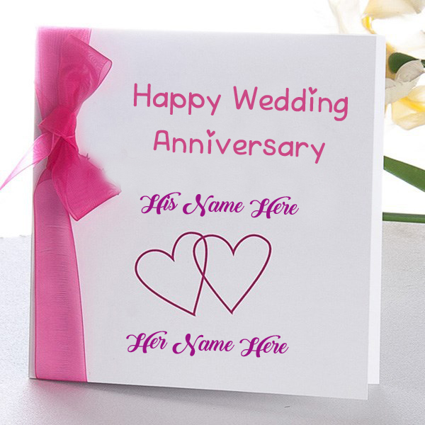 Online wedding anniversary name wish card edit photo