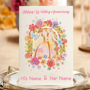 Romantic Wedding Anniversary Wish Card Couple Name Image