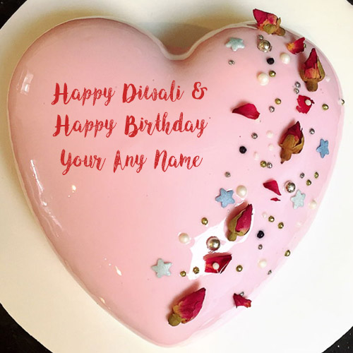 Write Name Happy Diwali & Birthday Wishes Cake Image