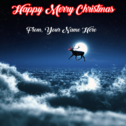 Online Name Edit Christmas Greeting Card Pictures Sent