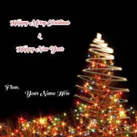 Happy New Year And Christmas Wishes Name Card Editor