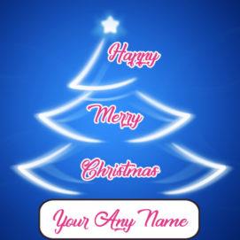 Lighting Christmas Tree Decoration Wishes Name Card Editor