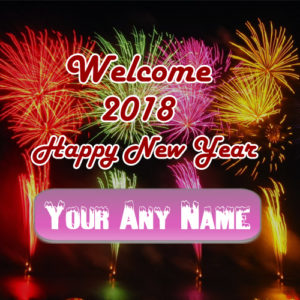 Name Write Colorful Firework Happy New Year Wish Card Sent