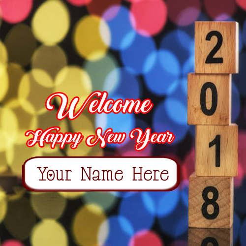 New year 2018 greeting card name editor online photo m4hsunfo