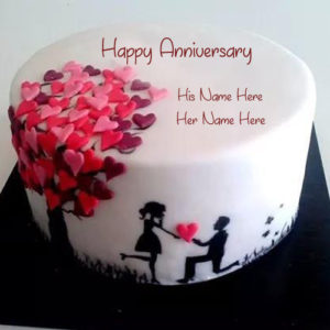 Romantic Anniversary Cake Customs Names Write Image
