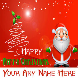 Smiling Santa Claus Merry Christmas Name Wishes Special Card Editor