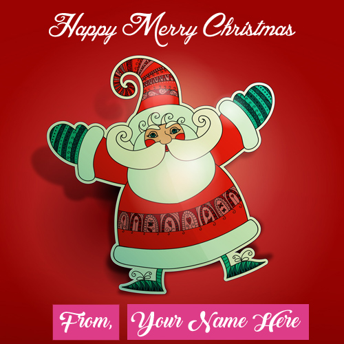 Unique Santa Claus Merry Christmas Day Wishes Name Image