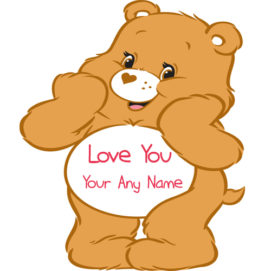 Cute Teddy Bear Love U Name Write Picture Sent Online