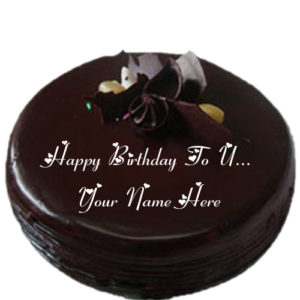 Happy Birthday To U Chocolate Cake Name Write Image Edit