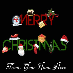 Name Printed Merry Christmas Wishes Greeting Card Sent Online