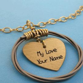 Write Love Name Beautiful Heart Pendant Profile Image Free