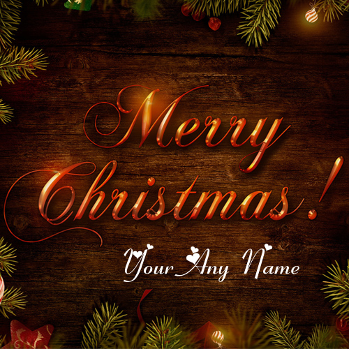 Write Name On Merry Christmas Wishes Greeting Card Edit Photo
