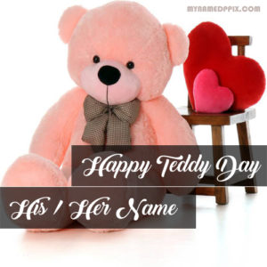Beautiful Teddy Sent Happy Teddy Day Wishes Name Photo Editing