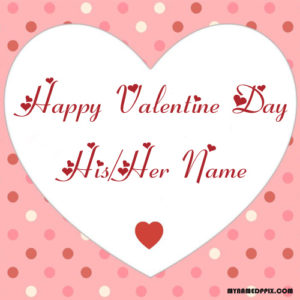 Boyfriend Name Write Happy Valentines Day Love Greeting Card Image