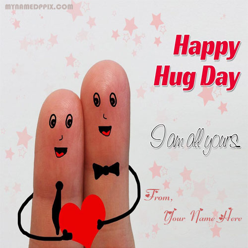 Happy Hug Day Photo Sent Friend Wishes Write Name Image