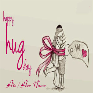 Happy Hug Day Romantic Couple Image Write Name Wishes
