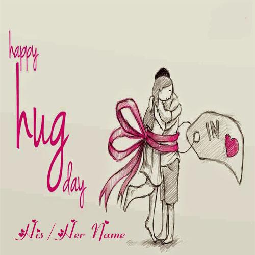 Happy Hug Day Romantic Couple Image Write Name Wishes