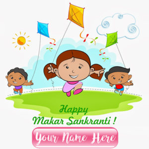 Online Custom Name Write Happy Makar Sankranti Pictures Edit