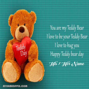 Online Lover Name Write Happy Teddy Bear Day Photo Editor