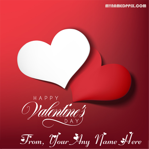 Valentine Day Wishes Heart Greeting Love Card Name Print Photo