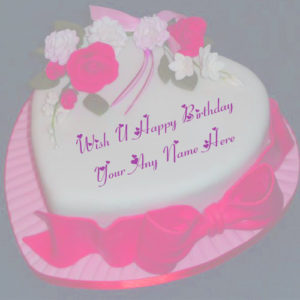 Wish U Happy Birthday Heart Look Cake On Name Write Pictures