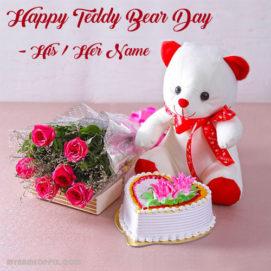 Write Boyfriend Name Beautiful Teddy Bear Day Wishes Name Photo