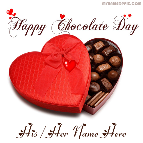 Write Boyfriend Name Wishes Chocolate Day Beautiful Image Sent Online