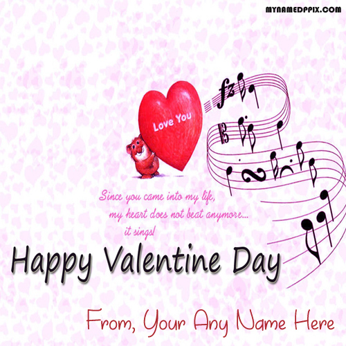 Write Name Happy Valentine Day Love Greeting Card Images