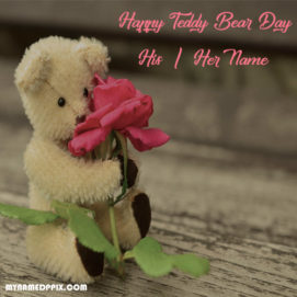 Beautiful Teddy Bear Day Wishes Name Photo Sent Online Create