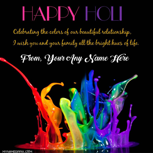 Happy Holi Celebration Quotes SMS Name Write Pictures Edit Online