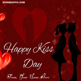 Happy Kiss Day Romantic Love Greeting Card Name Write Pictures