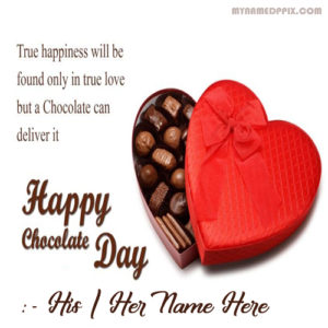 New Happy Chocolate Day Love Greeting Name Card Photo Sent