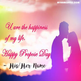 Romantic Propose Day Couple Name Wishes Greeting Card Images