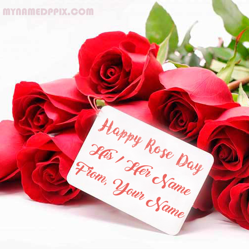 Write Name On Happy Rose Day Greeting Card Photo With Edit Online